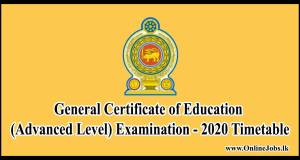 General Certificate of Education (Advanced Level) Examination - 2020 Timetable Old syllabus