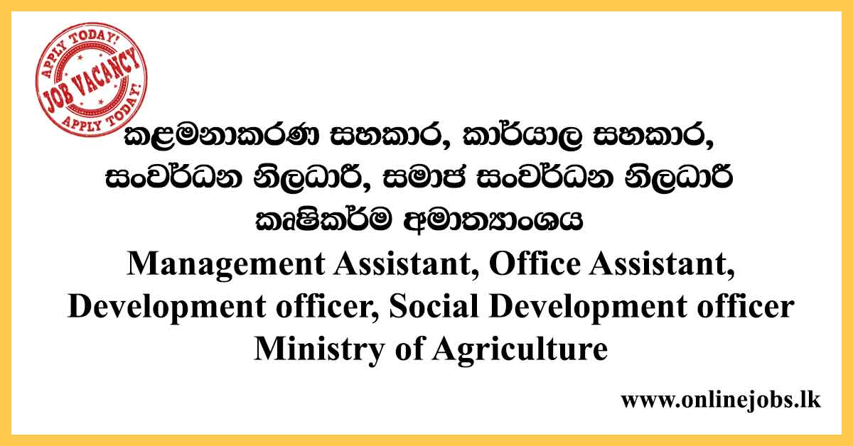 Management Assistant, Office Assistant - Ministry of Agriculture Vacancies 2020