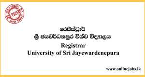 Registrar - University of Sri Jayewardenepura Vacancies