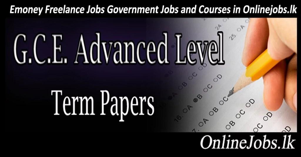 G C E Advanced Level Term Test - OnlineJobs lk