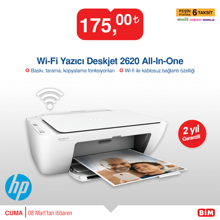 Bim Wi-Fi Yazıcı Deskjet 2620 All-In-One