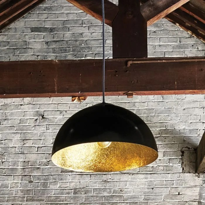edit rondure ceiling pendant light 350mm black and gold