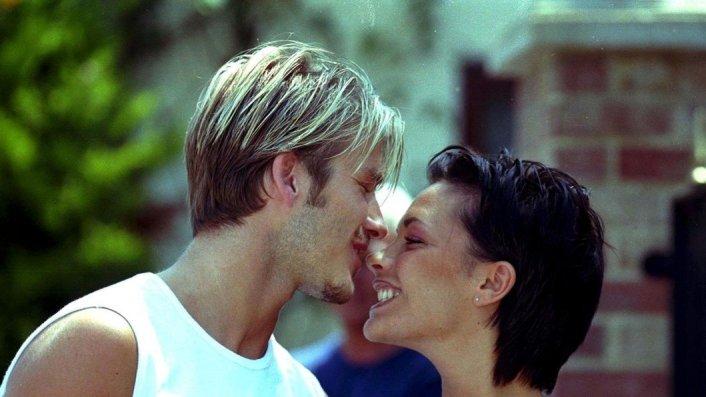 Victoria Beckham and David Beckham young