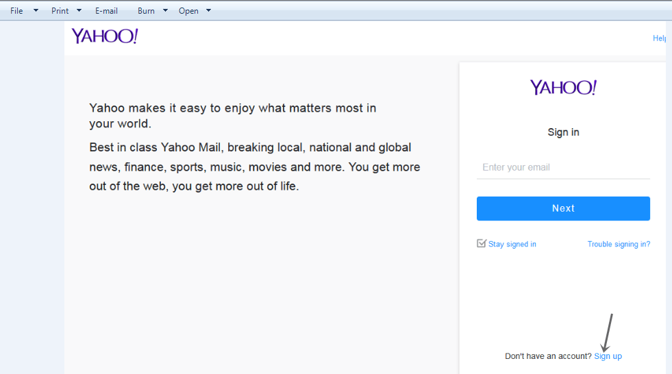 Yahoo mail signup page