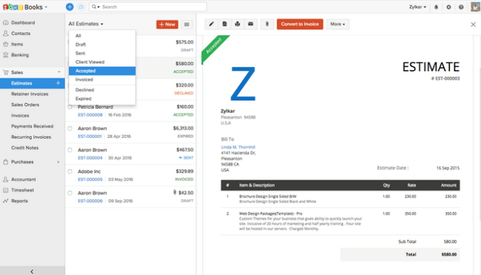 Zoho Books Accounting Software
