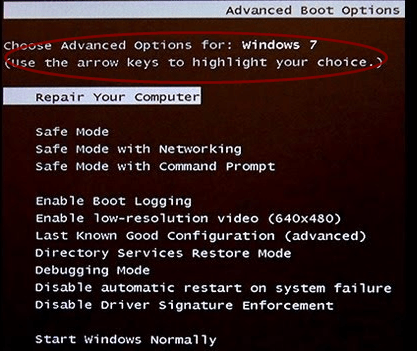 The Advanced Boot Options Start up