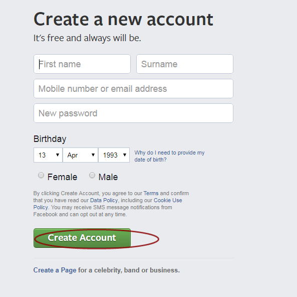 Facebook Create Account Page