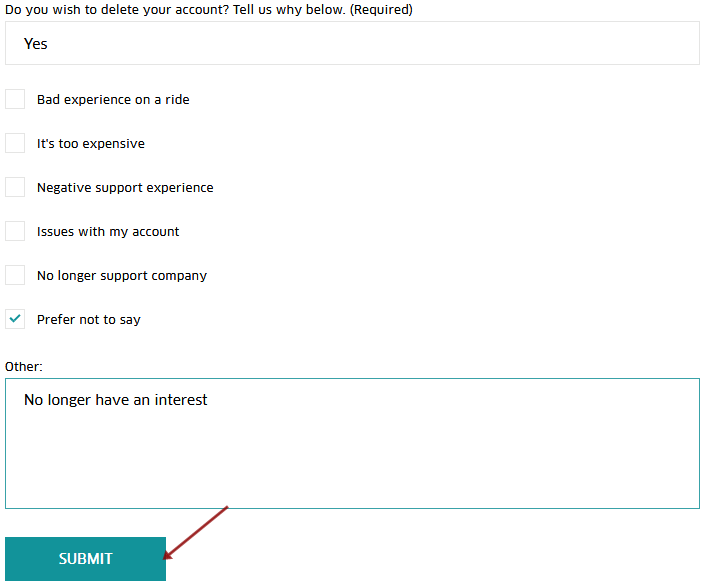 Uber Delete Account Confirmation Page