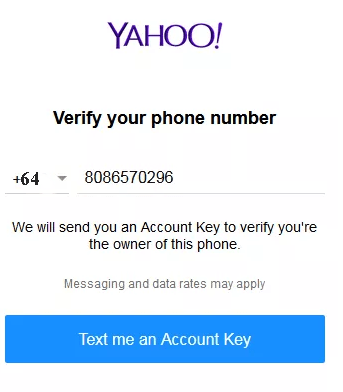Yahoo Mobile Number Verification Page