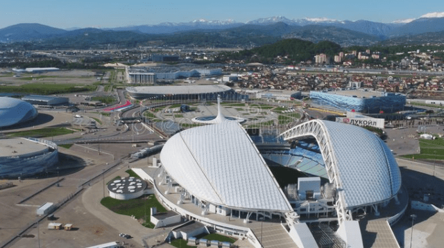 Aerial Football Stadium Fischt, Sochi.