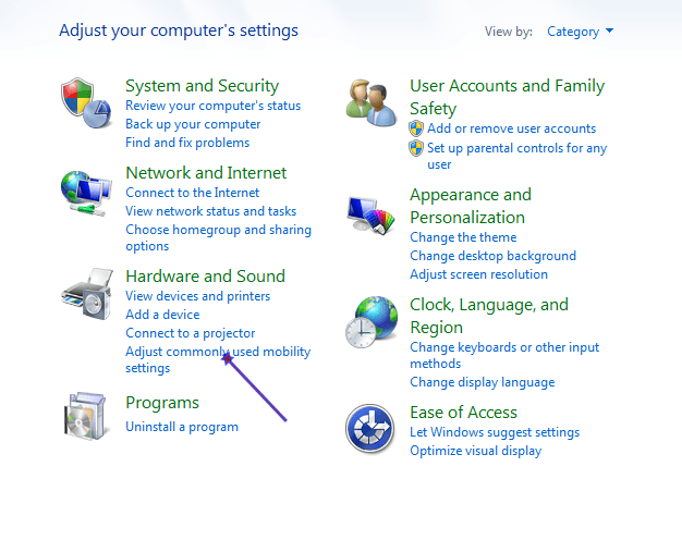 Wiindows 7 Adjust Commonly used Mobility Settings Option.