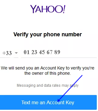 Account Key Number Verification Page.