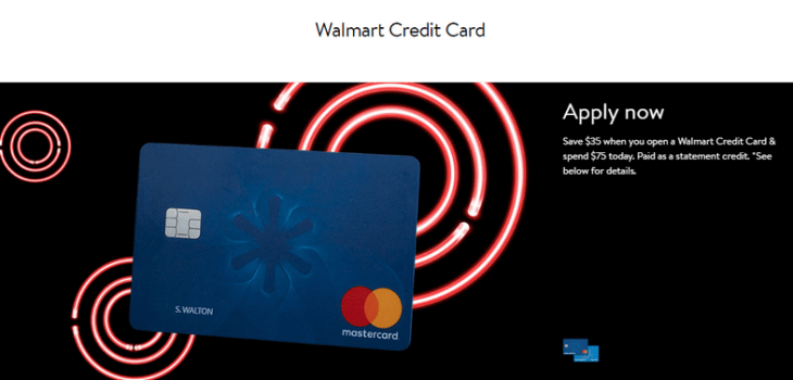 Walmart card application page