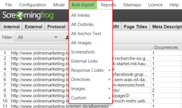 Screaming Frog 8.3 - Advanced Export