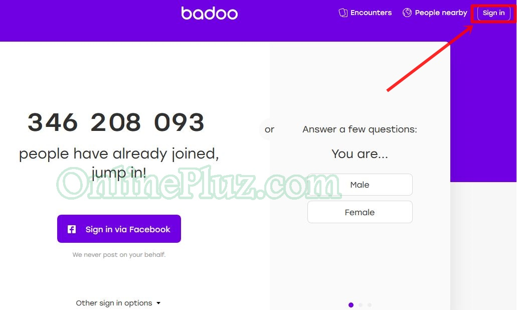Badoo com login page