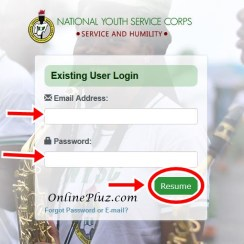 NYSC Login Dashboard