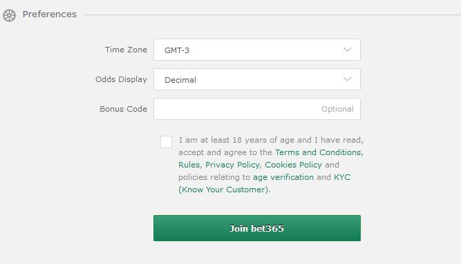 Bet365 Registration