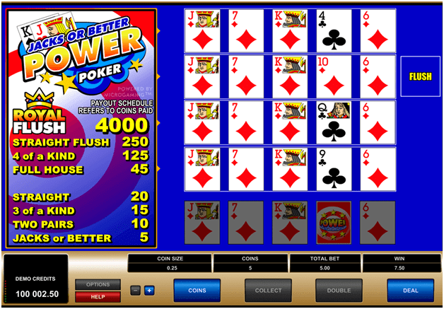 Video poker games to play online