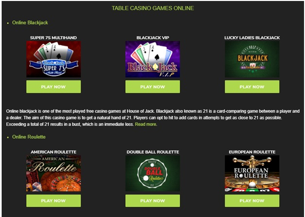 House of Jack Casino - Table games