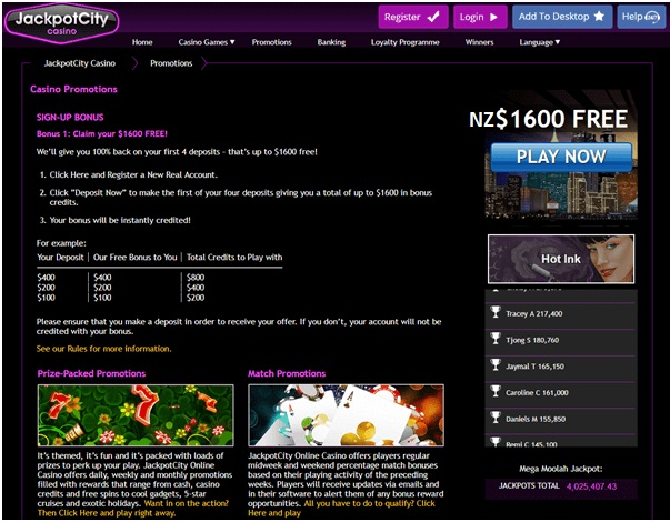 Jackpot city casino NZ bonus