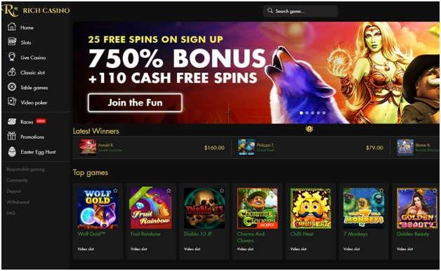 Rich casino accepts NZ punters to play pokies in real time
