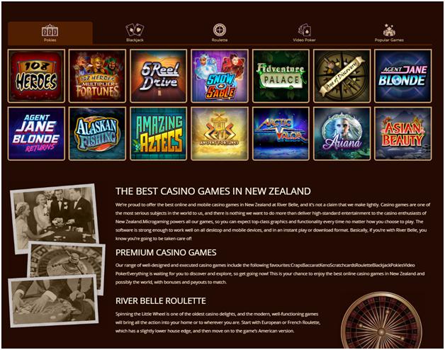 River belle NZ Casino Games