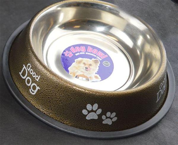 Dog Bowl Anti Skid Antique Food Water Dog Print Paw Print 1.4L