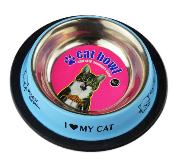 Felicia's Feeding Stainless Steel Cat Bowl with Plastic Rim 8oz by World Of Pets