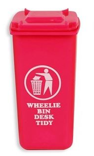Desk Tidy Wheelie Bin Space Saver Storage Office School Pen Holder Pink