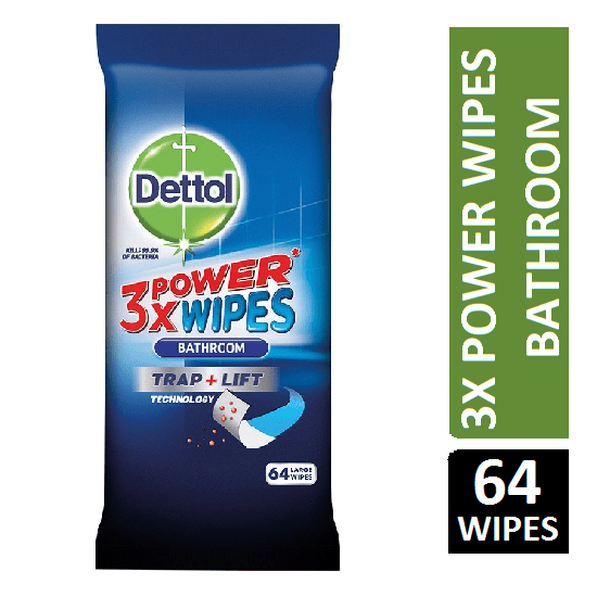 Dettol 3power wipes Bathroom 64 LARGE WIPES