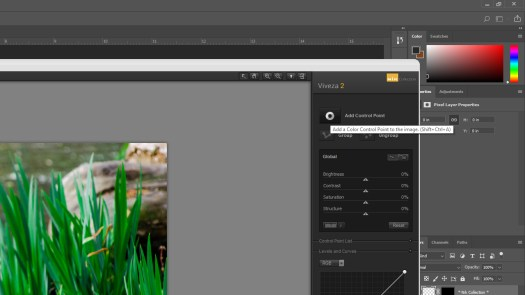 Add a color control point in the Viveza tool