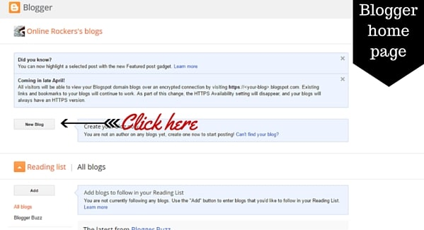 Create blog at Blogger Homepage
