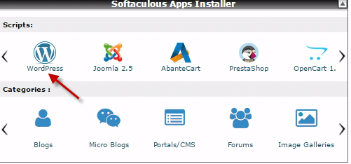 Softaculous installer at Namecheap cPanel