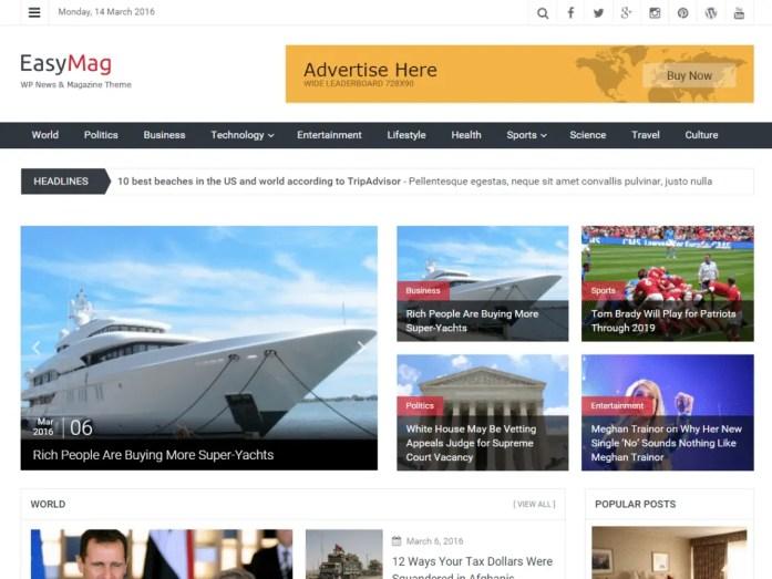 Wordpress magazine theme for free - Easymag
