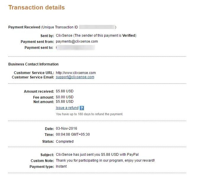 Clixsense Payment Proof 3rd November 2016
