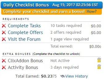 Clixsense Checklist Bonus