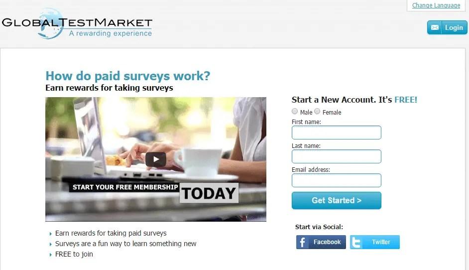 GlobalTestMarket survey panel homepage