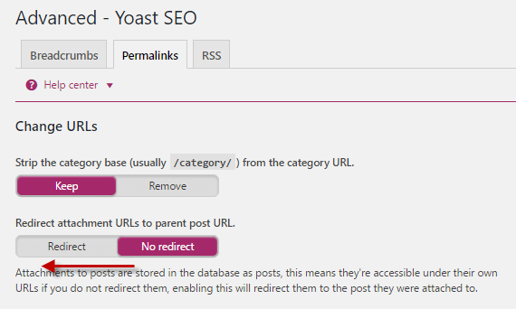 Permalinks tab under Advanced Settings in Yoast SEO plugin