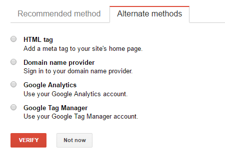 alternate verification methods in Google Search Console