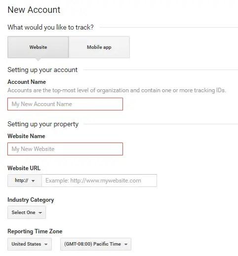 Create new account in Google Analytics