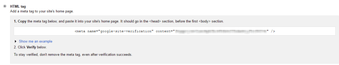 HTML tag verification in Google Search Console