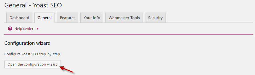 Open the configuration wizard in Yoast SEO plugin