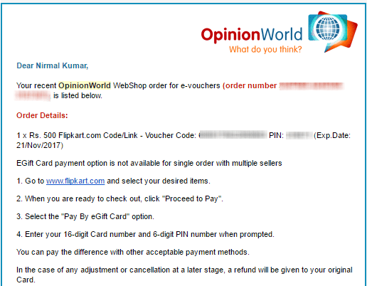 OpinionWorld payment proof Flipkart voucher