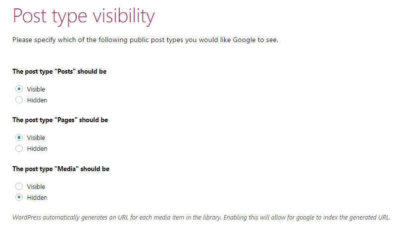 Post type visibility in Yoast SEO configuration wizard