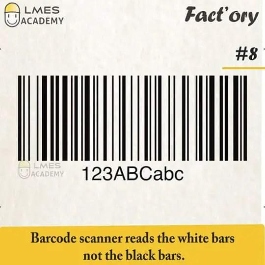 #8 Barcode scanner reads the white bars not the black bars.