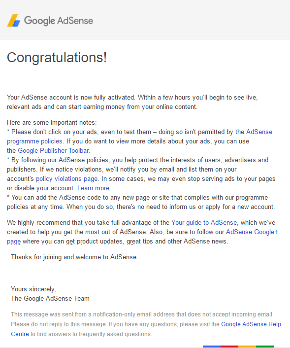 Google Adsense account fully approved