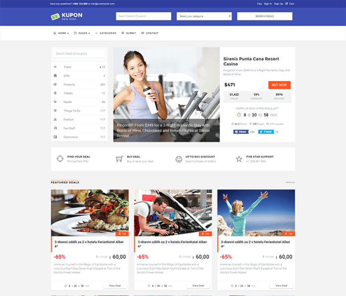 Kupon theme daily deals template
