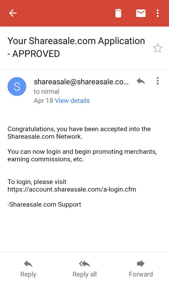 ShareAsale approved OnlineRockersHub application