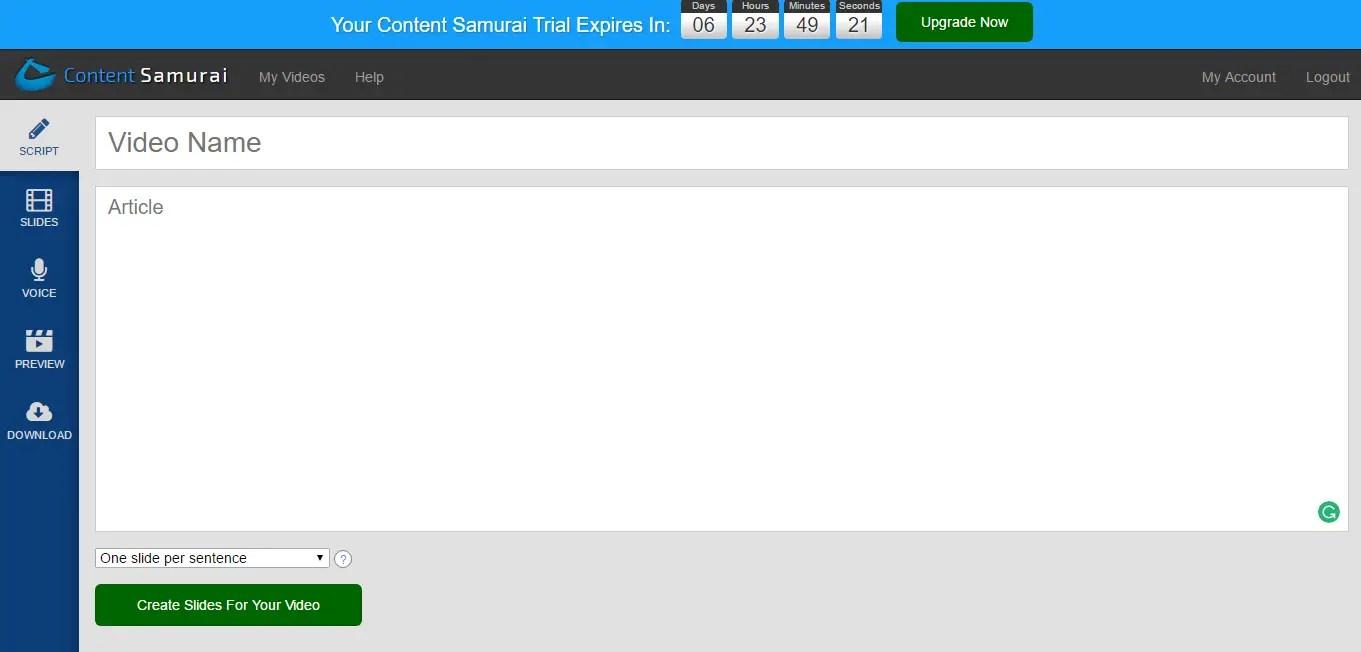 script section in content samurai