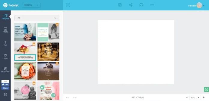 FotoJet designer user interface